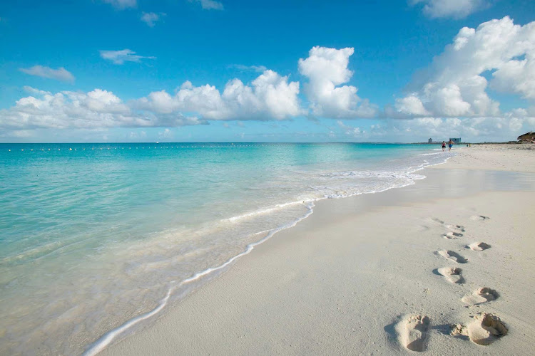 Robinson Crusoe, eat your hear out: Footprints across the white sand beaches of Aruba.