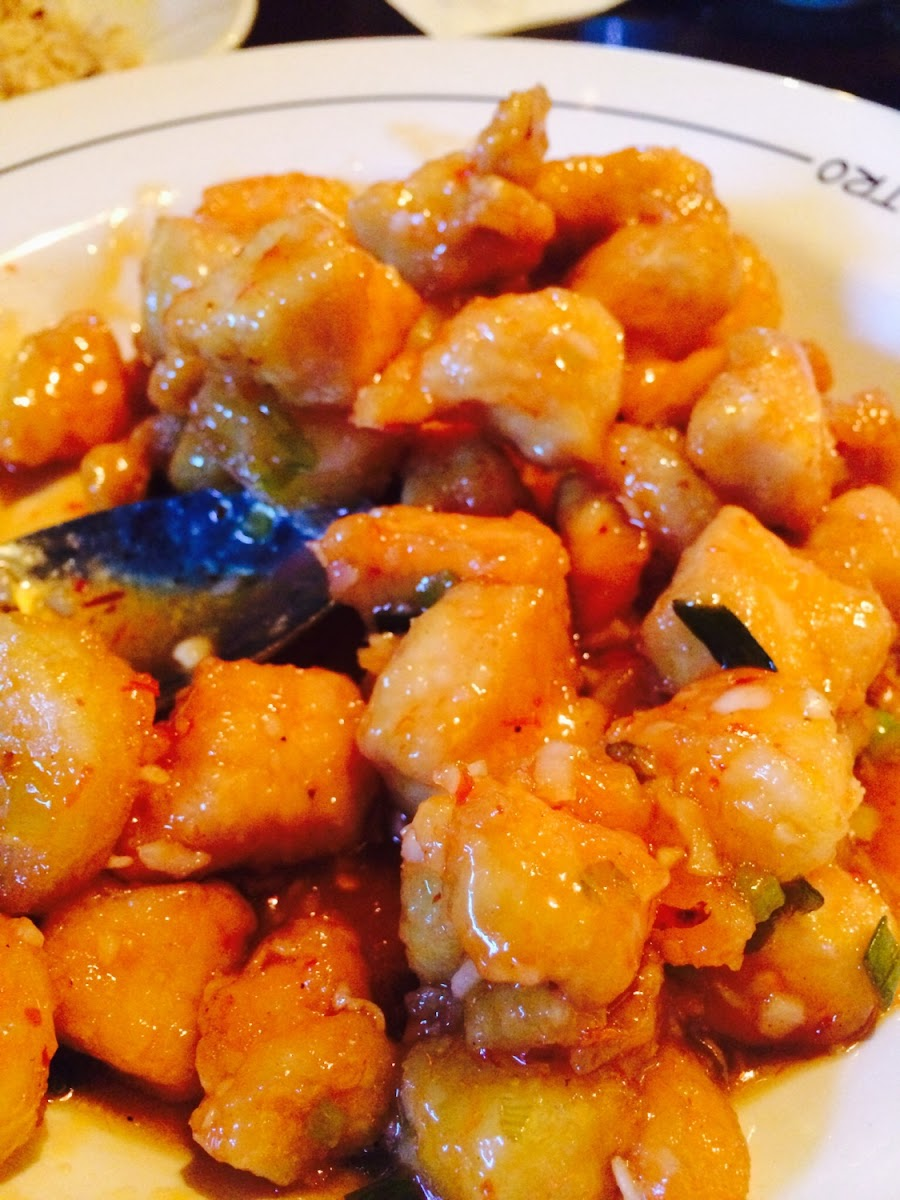 Spicy PF Chang Chicken. We love to add Shrimp too ;) it's the best ever!