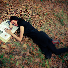 gothic girl story by Ovidiu Porohniuc - People Portraits of Women ( story, girls, gothic, book, forest,  )