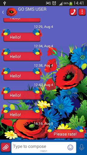 GO SMS Proのプリティ花