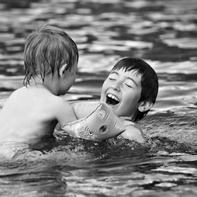 sibling love by Elisabeth Johansson - People Family ( water, sweden, boden, summer, children,  )