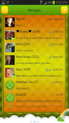 GO SMS - St Patty Clovers