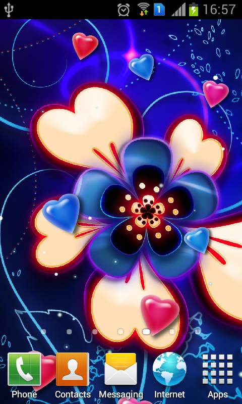 neon hearts and stars backgrounds