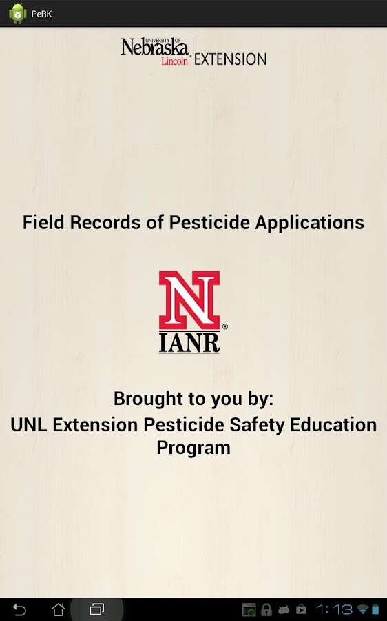 Pesticide Recordkeeping (PeRK) - screenshot
