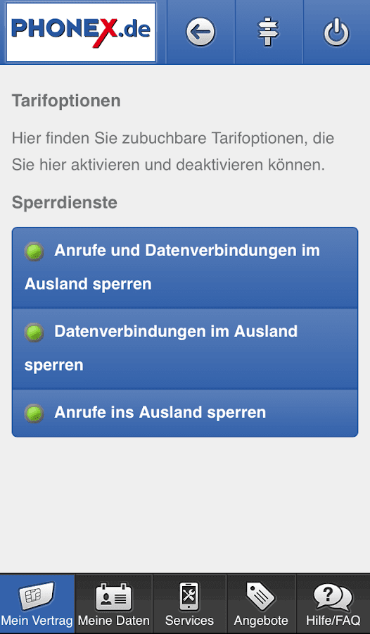 Phonex Servicewelt – Screenshot