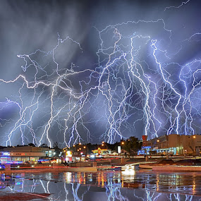 Extreme electric storm by Alexius van der Westhuizen - City,  Street & Park  Street Scenes ( lightning, electricity, storm, light show, spectacle, bolts,  )