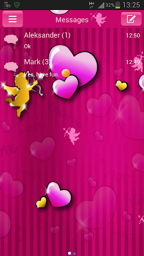 GO SMS Pro Theme lovely pink
