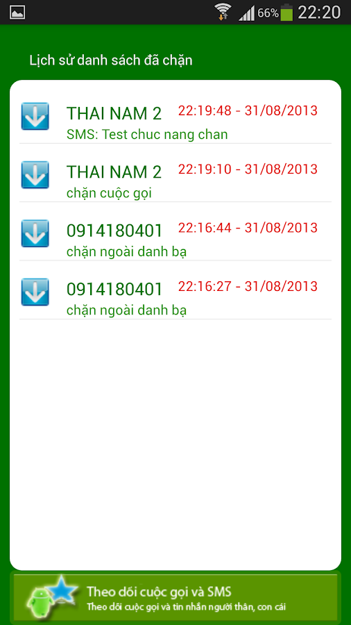 Chan cuoc goi va SMS- screenshot