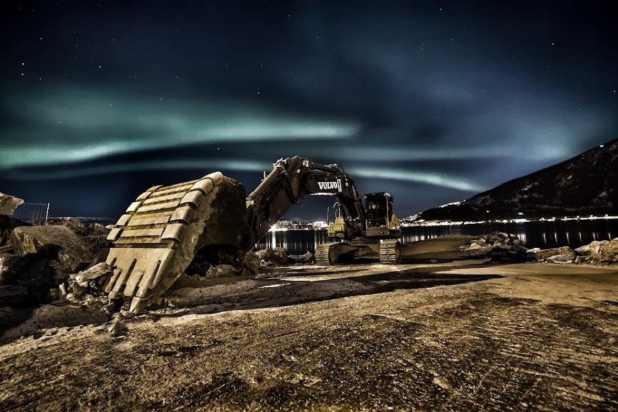 Excavator in northern light by Ståle Nilsen - Artistic Objects Industrial Objects ( northern, narvik, excavator, aurora, volvo )