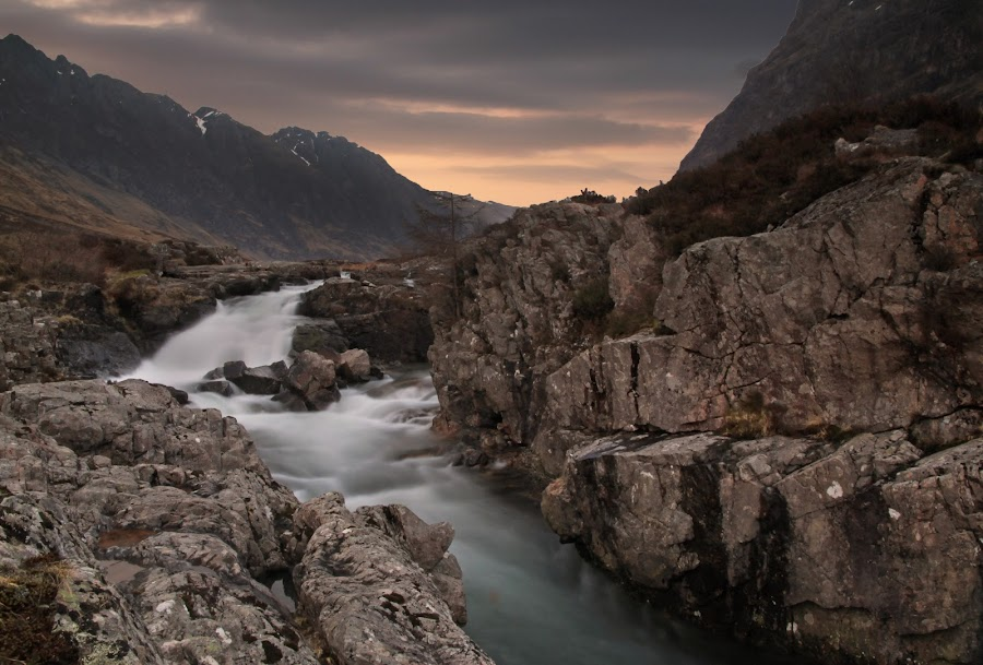 River Etive, Glen Etive. by Ally Macdonald - Landscapes Mountains & Hills ( water, hills, mountain, glen etive, river etive, rocks )
