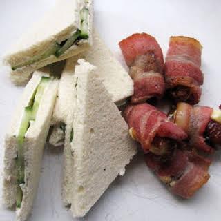 Savory Elevenses (Devils on Horseback and Cucumber Sandwiches).