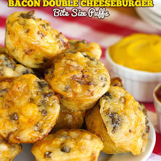 Bite Size Bacon Double Cheeseburger Puffs.
