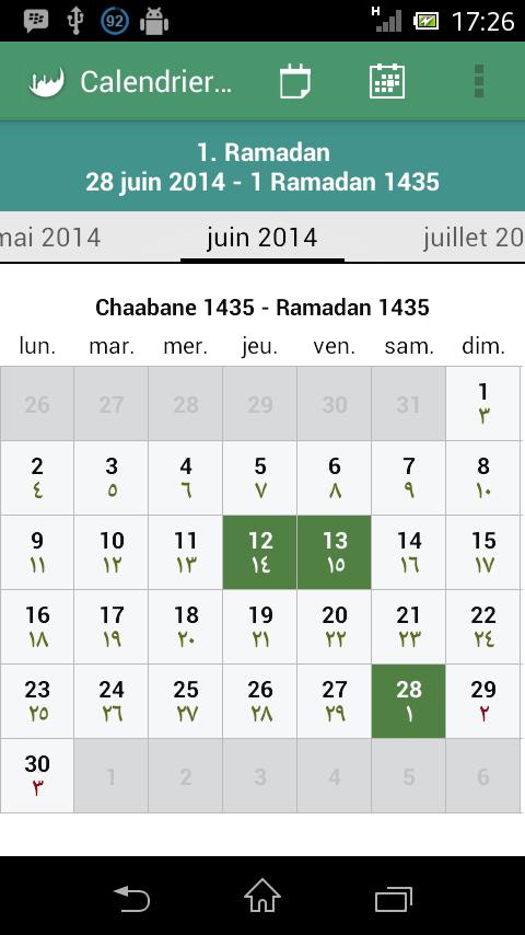 date du calendrier musulman