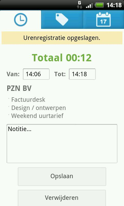 Factuurdesk Urenregistratie- screenshot