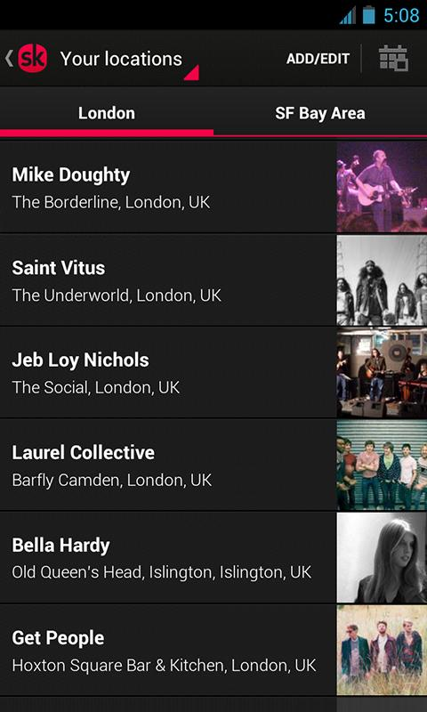 Songkick Concerts - screenshot