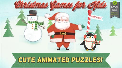 耶誕節兒童遊戲-幼兒,男孩和女孩的高清酷聖誕老人,雪人鹿拼圖