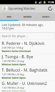 Tennis Schedules- screenshot thumbnail