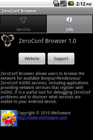 ZeroConf Browser- screenshot