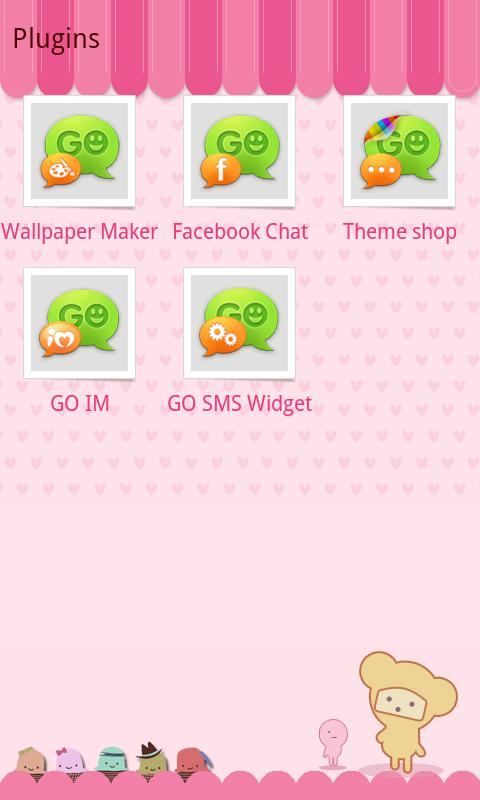 GO SMS Pro Pink Sweet theme - screenshot