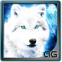 White Wolf with Snowflakes LWP icon