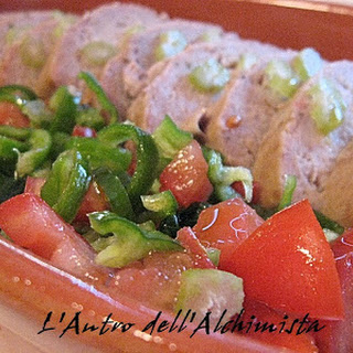 Potato Meatloaf with Cherry Tomatoes, Sweet Peppers and Celery.