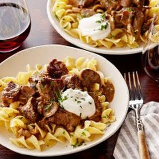Beef Stroganoff over Buttered Noodles.