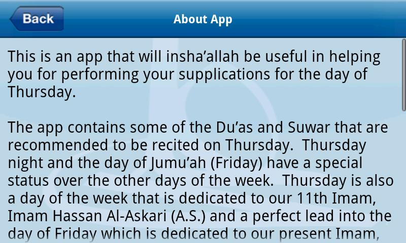 iDuas - Thursday- screenshot
