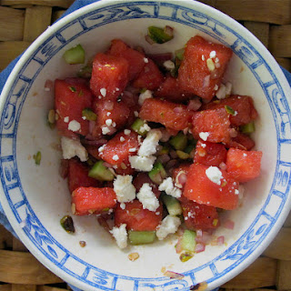 WATERMELON SALAD WITH FETA, CUCUMBER, ONION AND PISTACHIOS.
