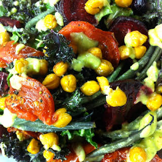 Kale Salad With Roasted Beets, Cumin Roasted Chickpeas, & Avocado Dill Dressing.