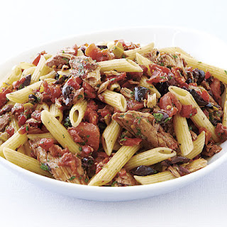 Penne Rigate with Olives, Roasted Peppers, and Tuna