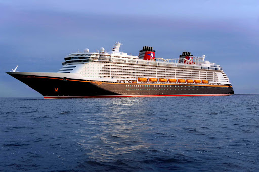 Disney-Dream-at-sea-1 - Disney Dream en route to Disney's private tropical playground of Castaway Cay in the Bahamas.