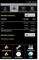 Screenshot of Personal Financial Organizer