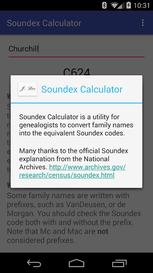 Soundex Calculator- screenshot