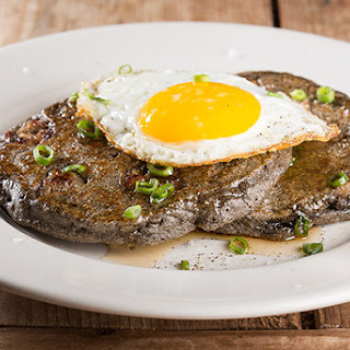 Buckwheat Pancakes with Sausage, Scallions and Fried Eggs
