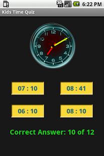 Kids Time Clock Quiz