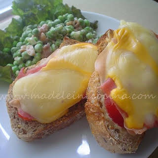 Open-faced Melted Cheese Sandwich.
