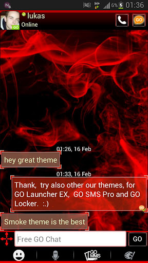 【免費個人化App】GO SMS Pro Theme Red Smoke Buy-APP點子