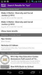 NYU Mobile - screenshot thumbnail