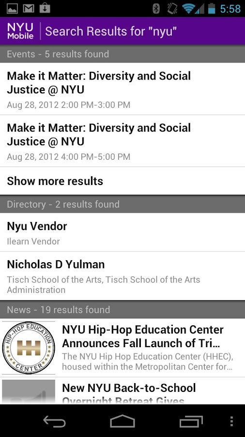 NYU Mobile - screenshot