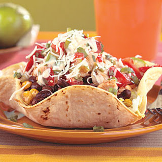 Chicken and Black Bean Taco Salad with Chipotle Dressing.
