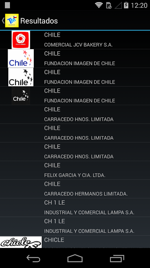 Chile Trademark Search- screenshot
