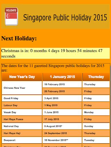 Singapore Public Holiday 2015
