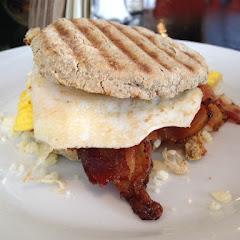 Breakfast sandwich on a GF biscuit