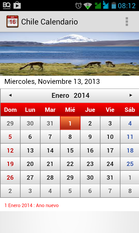 Chile Calendario 2014 - screenshot