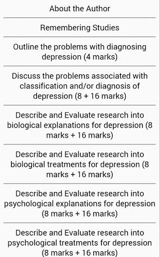 AQA Psychology Depression Free