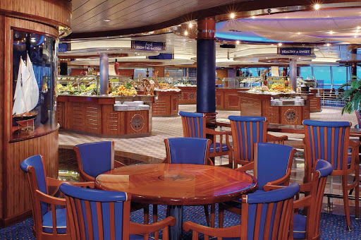 Jewel-of-the-Seas-Windjammer - The Windjammer Cafe aboard Jewel of the Seas, outfitted in radiant blue, offers a wide selecton of buffet items.