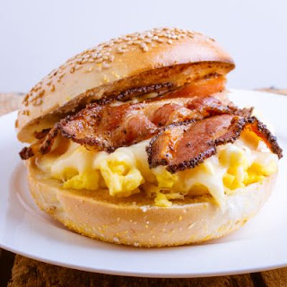 Scrambled Eggs and Bacon Sandwich.