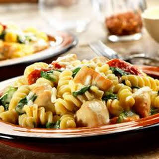 Chicken Fusilli with Spinach and Asiago Cheese.