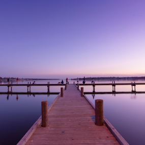 The Painted Sky by Amitabh Mukherjee - Landscapes Sunsets & Sunrises ( exposure, water, sky, smooth, blue, colors, dallas, texas, pier, lake, hour, long )
