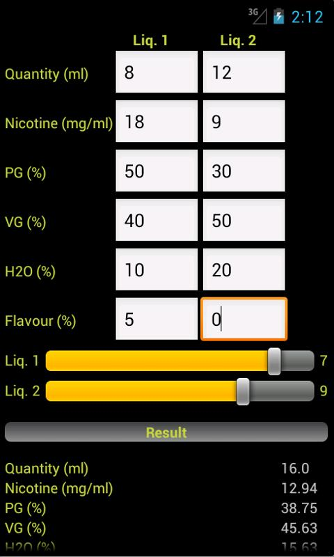 E-Liquid Calculator NOADS - screenshot